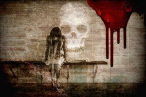 donna teschio che rappresenta la morte